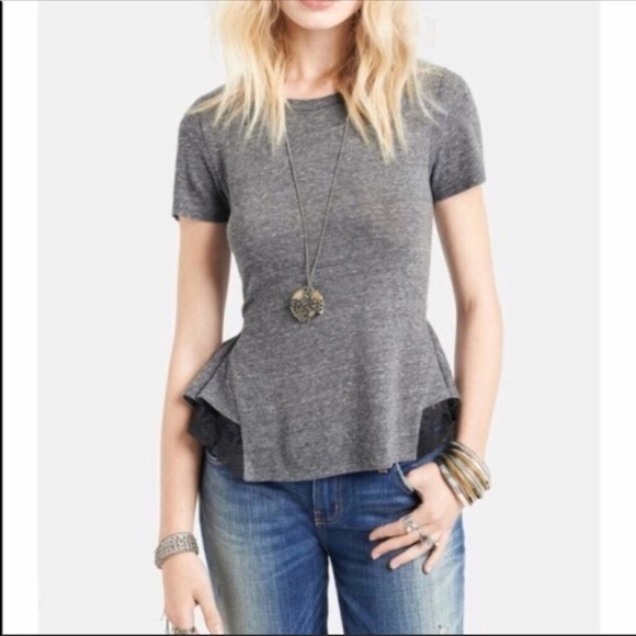 1875e484675857 Free People peplum top with lace trim